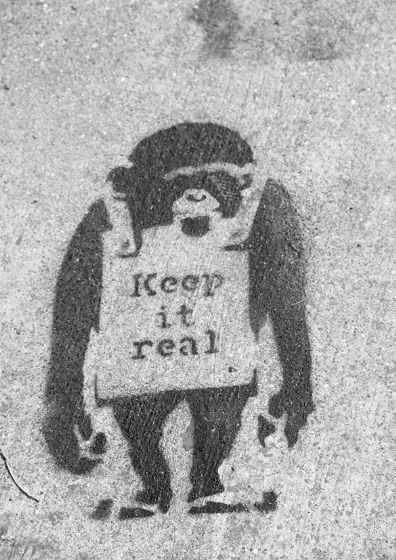 Banksy: Keep it Real Chimpanzee. Graffiti/Street Fine Art Print/Poster. Sizes: A4/A3/A2/A1 (002295)